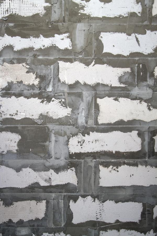 Background texture of wall from white lightweight foamed brick w. Ith cement adhesive, block, gas, design, abstract, pattern, old, backdrop, architecture, grunge royalty free stock image
