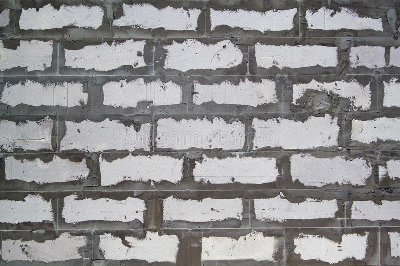 Background texture of wall from white lightweight foamed brick w. Ith cement adhesive, block, gas, design, abstract, pattern, old, backdrop, architecture, grunge stock photography