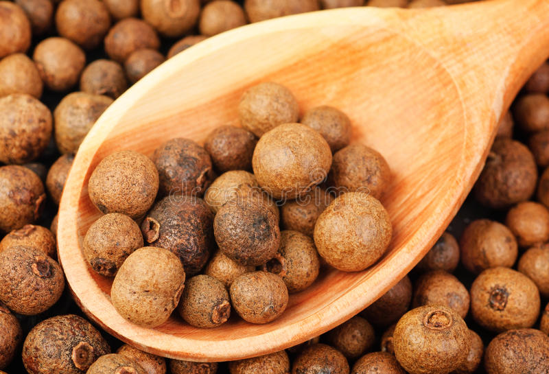 Background texture of whole allspice(jamaica pepper) with wooden spoon Used as a spice in cuisines all over the world. Also used stock image