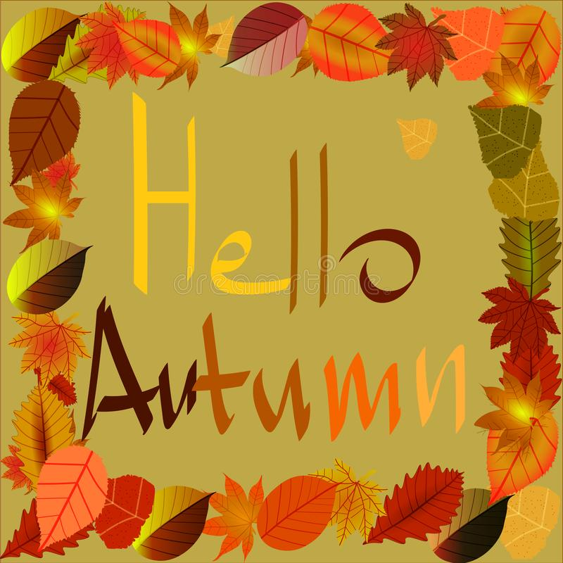 Background on a theme of autumn with leaves. Autumn is coming. royalty free illustration