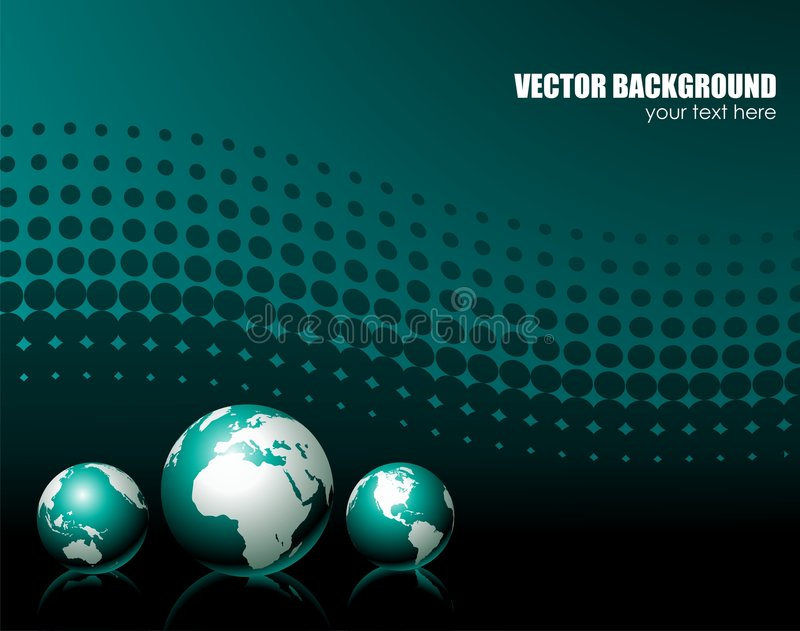 Background with three globe. Vector illustration with three globe on dark background stock illustration
