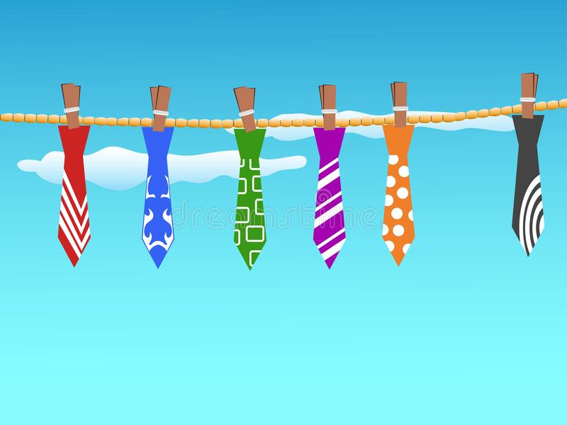 Ties hanging in the sky vector illustration