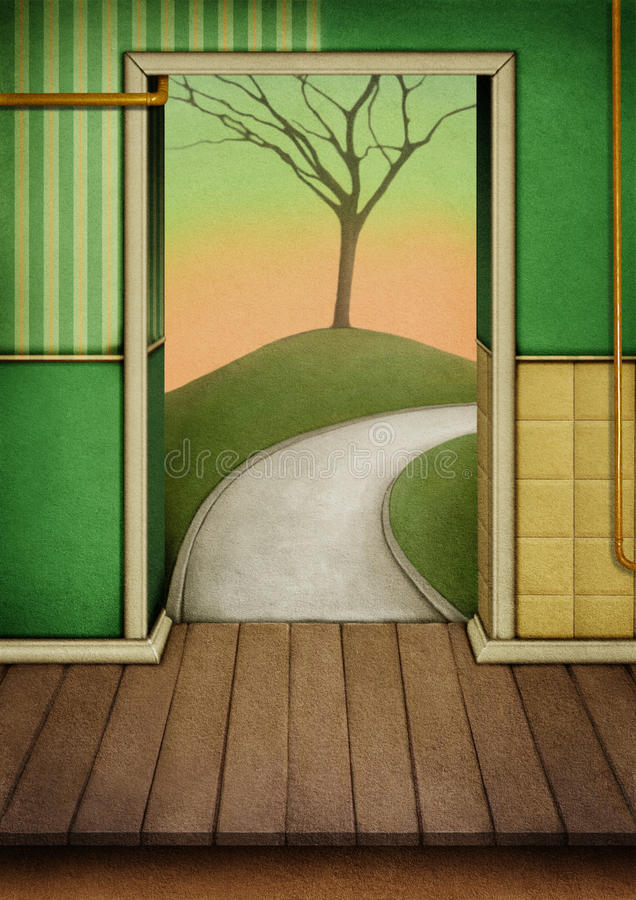 Background to the door stock illustration