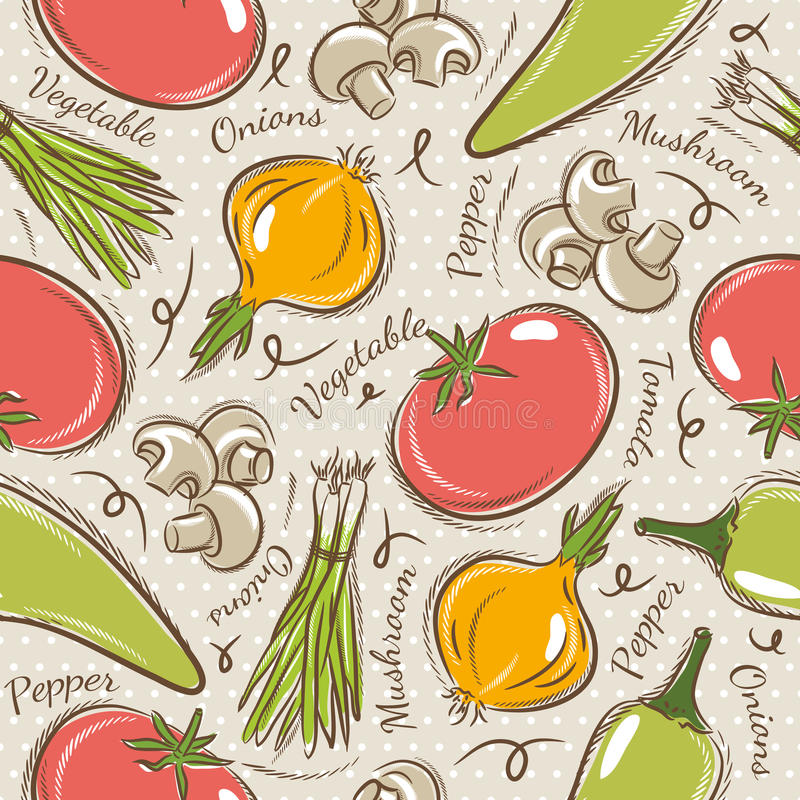 Background with tomato, onions, pepper. Ideal for printing onto fabric and paper or scrap booking vector illustration