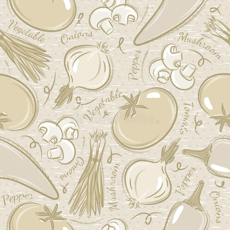 Background with tomato, onions, pepper. Ideal for printing onto fabric and paper or scrap booking stock illustration