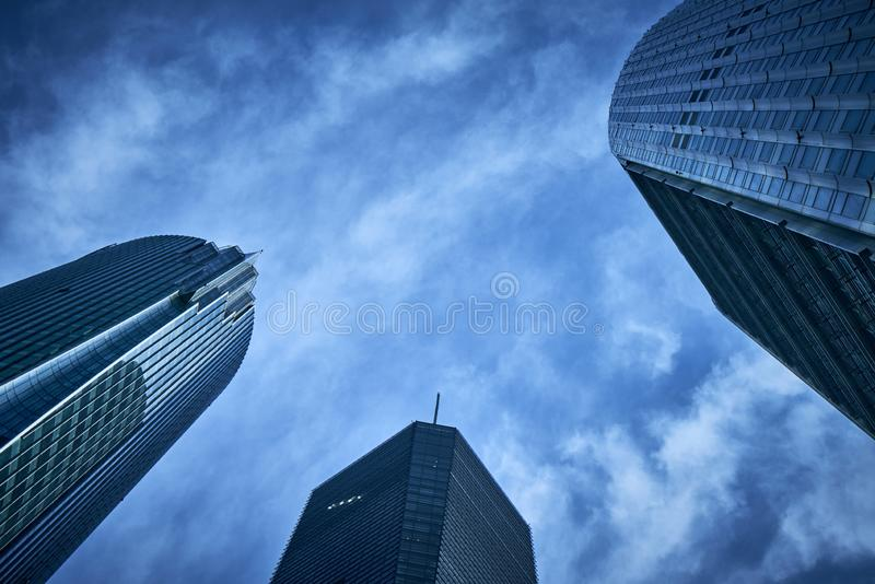 The background of the top view of the office building is in blues color.An office building in Shanghai`s lujiazui financial distri. Ct royalty free stock images