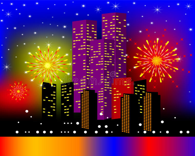 Background Townhouses With Festive Firework Stock Photography