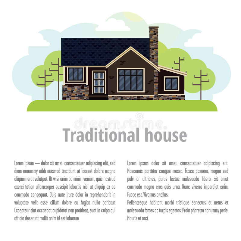Background with traditional home. On top is a house with lawn and trees. At the bottom of space for text and title to it stock illustration