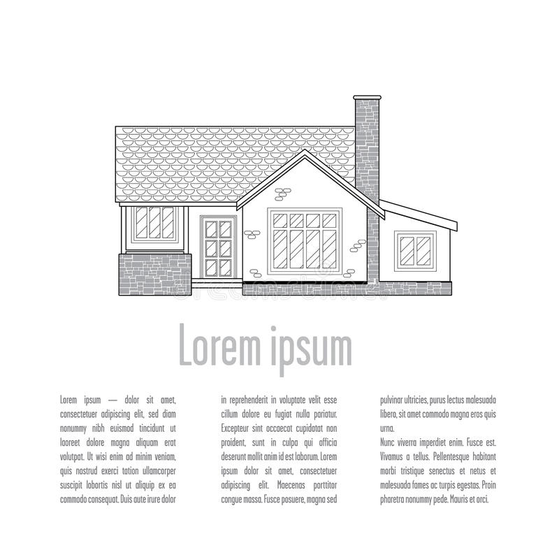 Background with traditional houses. At the top of the house is located in lines of varying thickness. In the lower part of the space for text and ownership vector illustration