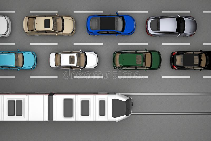 Background of traffic of cars and train on rail from top view. 3d rendering stock illustration