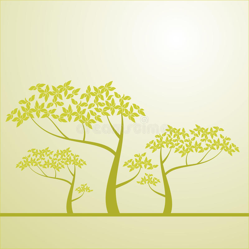 Background with a tree. There is a stock illustration