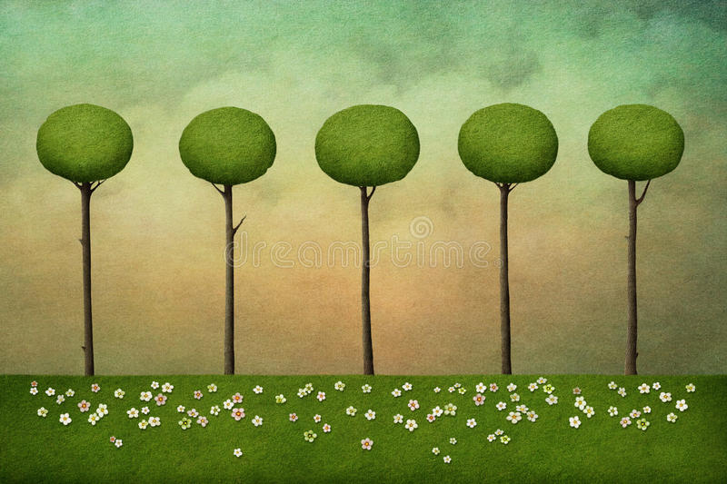 Background with trees stock illustration