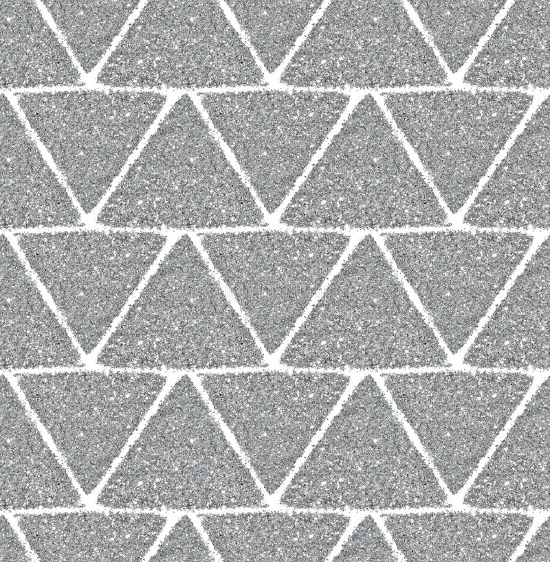 Background with triangles of silver glitter, seamless pattern. Seamless pattern with triangles of silver glitter royalty free stock photography