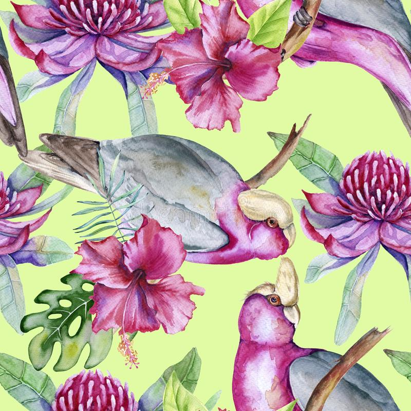 Background of tropical elements of birds and flowers. Seamless pattern. stock illustration
