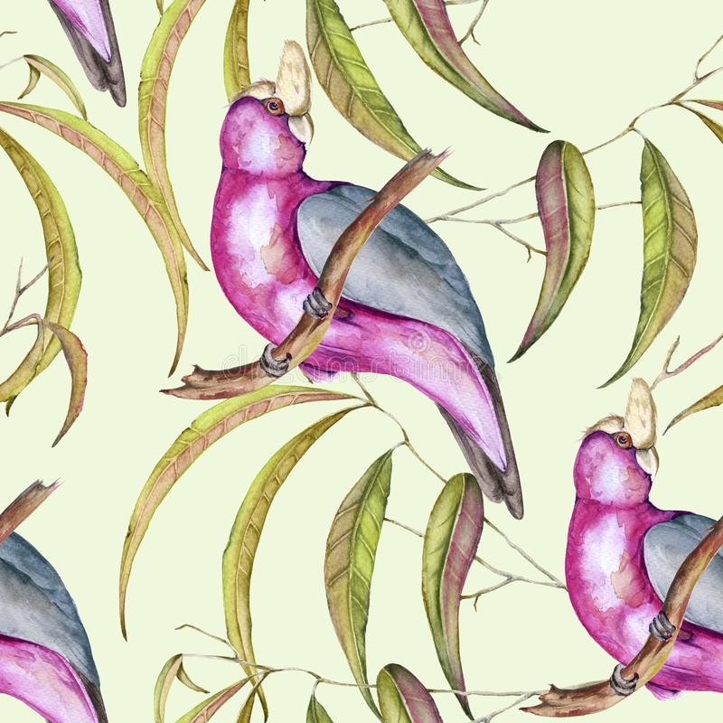 Background of tropical elements of birds and flowers. Seamless pattern. vector illustration