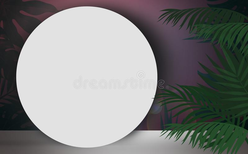 Background with tropical leaves stock illustration