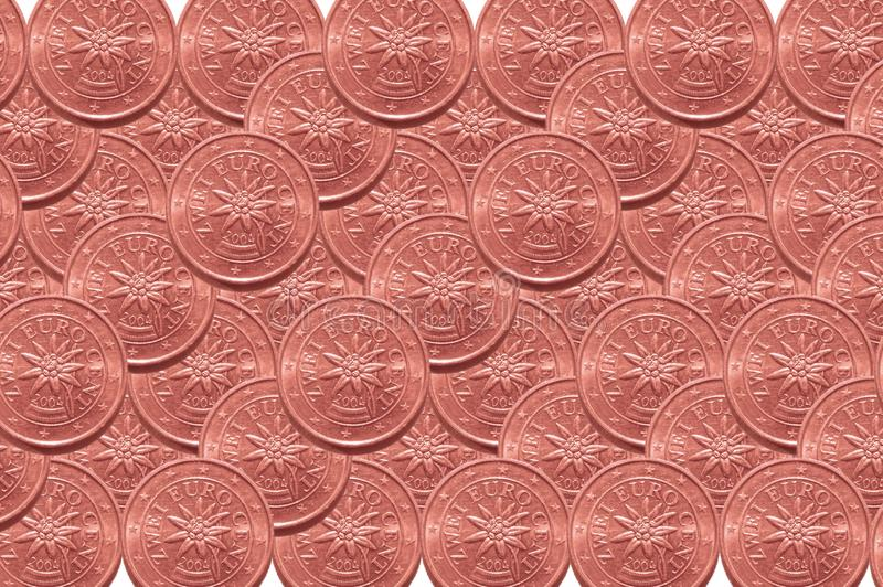 Background from two euro cents coins. stock images