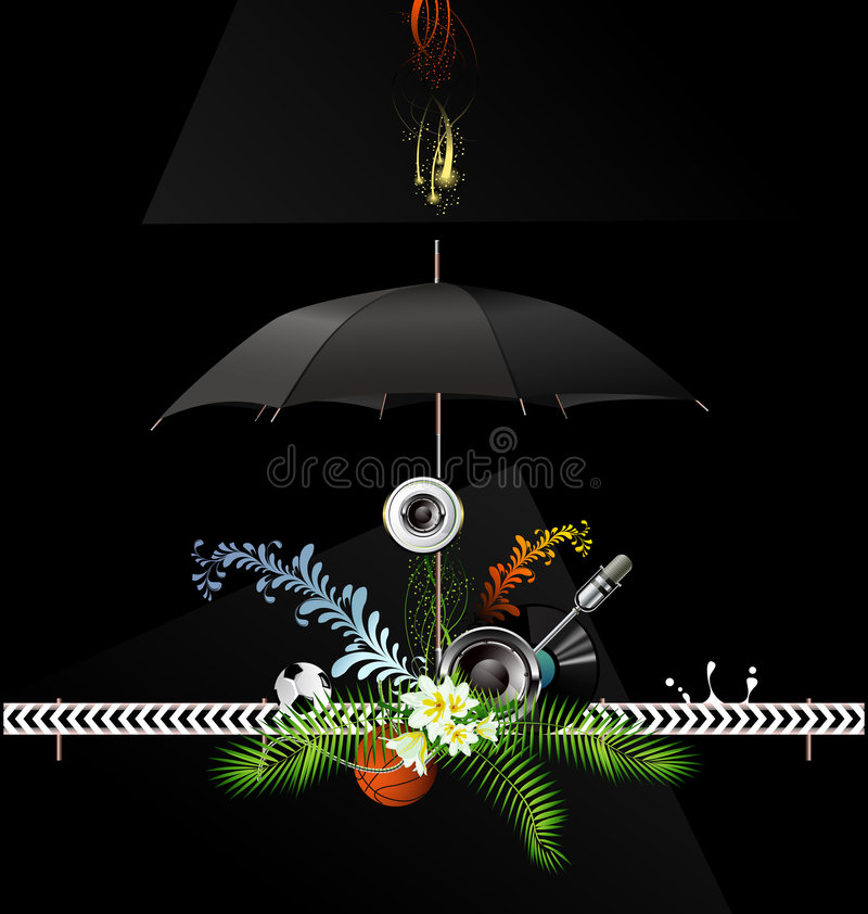 Download Background with umbrella stock vector. Image of music - 5793875