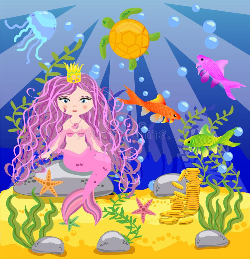 background with an underwater world in a children's style. A mermaid is sitting on a rock stock illustration