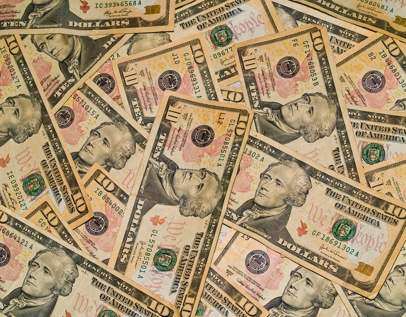Background of the US $10 Bills stock photography