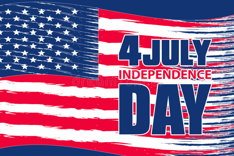 Background with USA flag for independence day on 4 July. Vector vector illustration