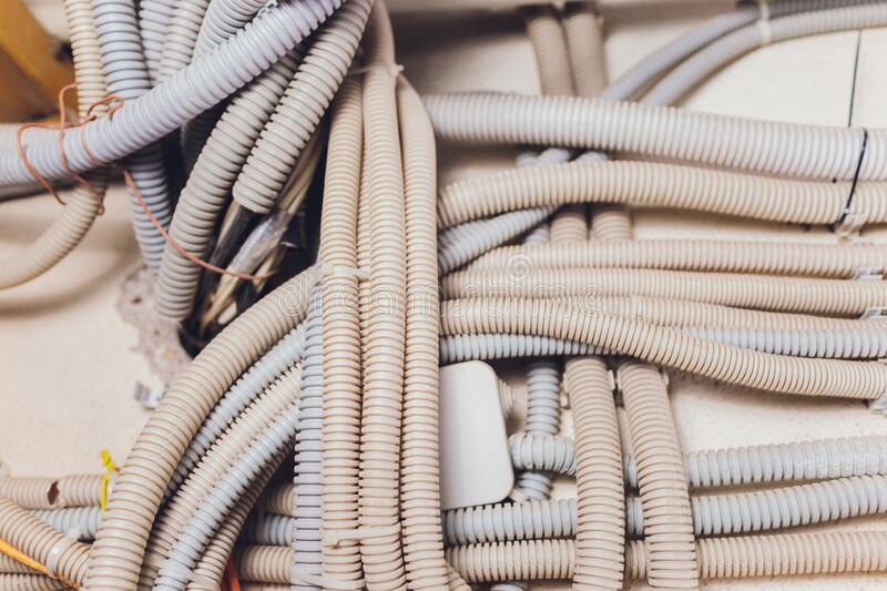 Background of used electrical wires at collection center. Background of used electrical wires at collection center royalty free stock photos