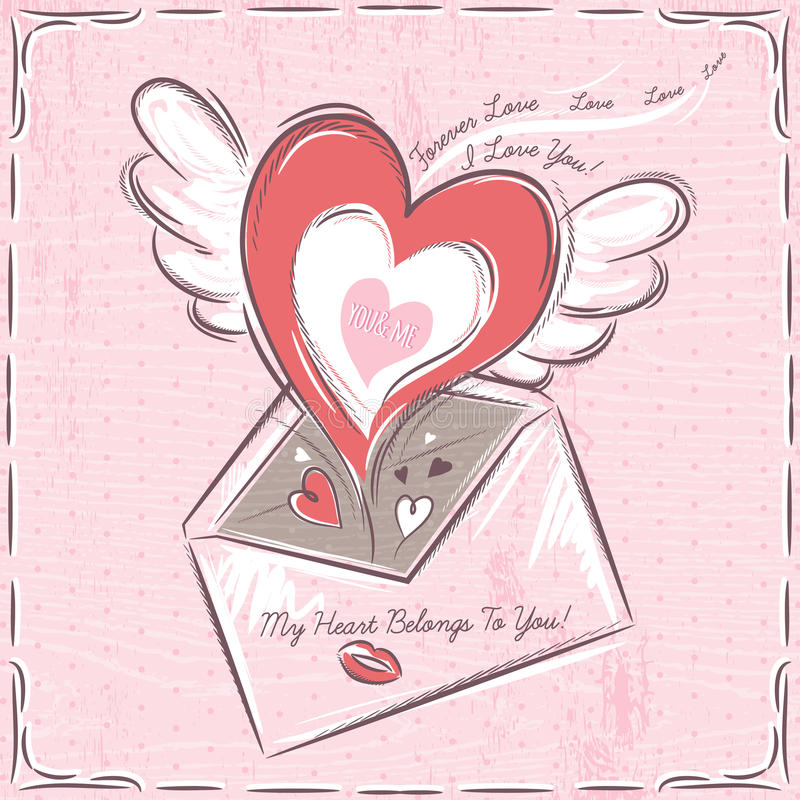 Background with valentine hearts and envelope royalty free stock images