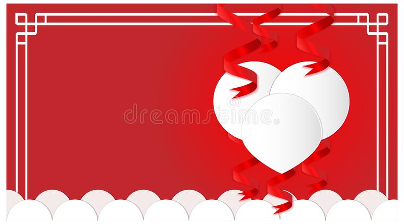Background valentine`s day with love symbol. romance theme template vector. design chinese frame. Vector royalty free illustration