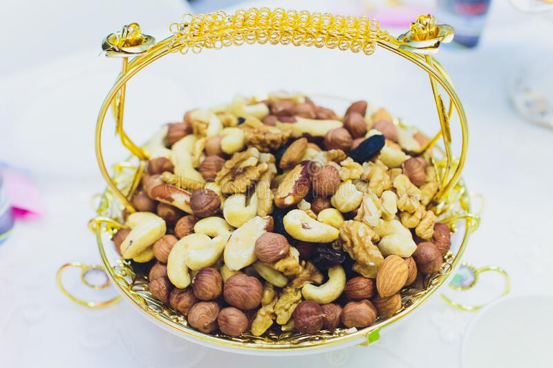 Background from various kinds of nuts almond, hazelnut, cashew, Brazil nut Nuts are different. royalty free stock photography