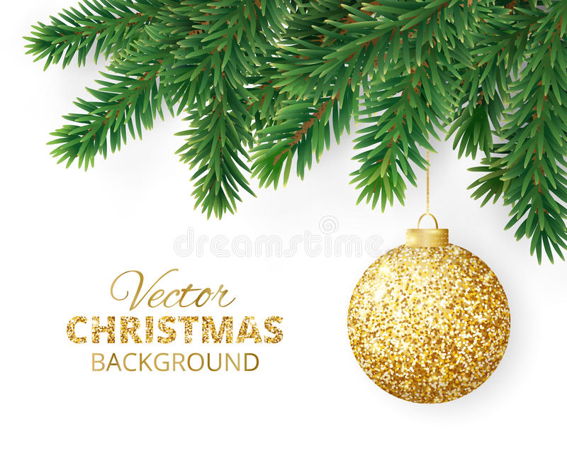 Background with vector christmas tree branches and hanging glitter ball vector illustration
