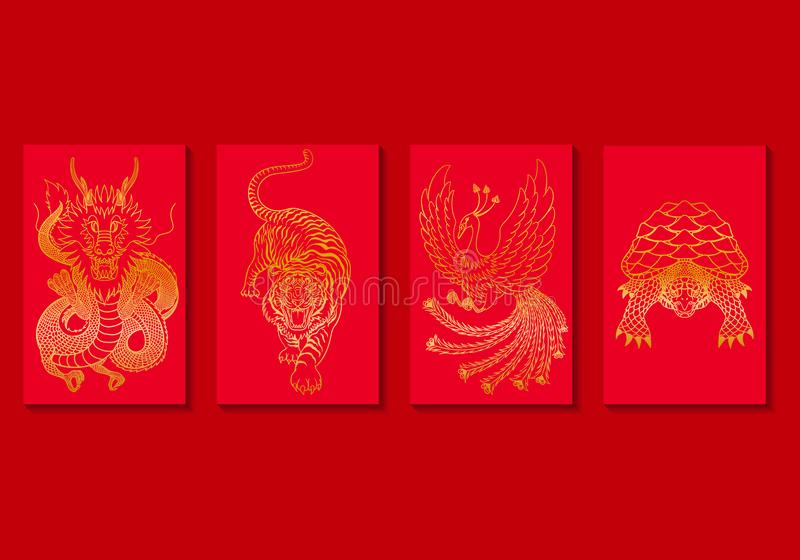 Background. Vector golden four china mythical creature on red background collection for brochure banner and publication vector illustration