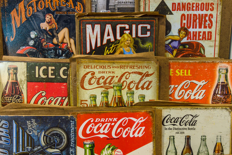Background Of Vintage Advertising Signs  Editorial