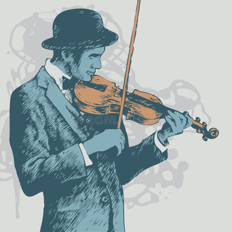 Background with violinist. Illustration stock illustration
