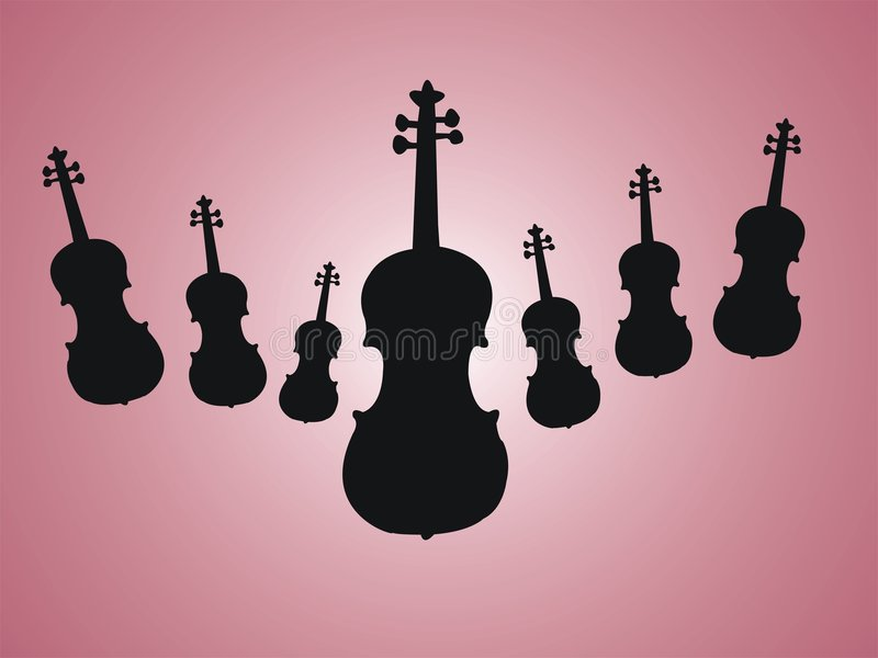 Background with violins. Colored background with black violin shapes vector illustration