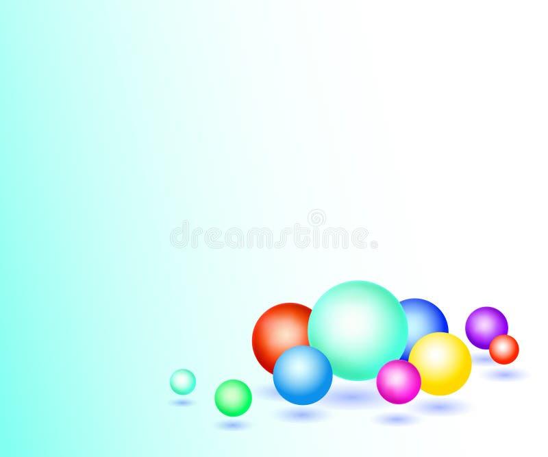 Background with volumetric multicolored balls 3d.Vector illustration. stock illustration