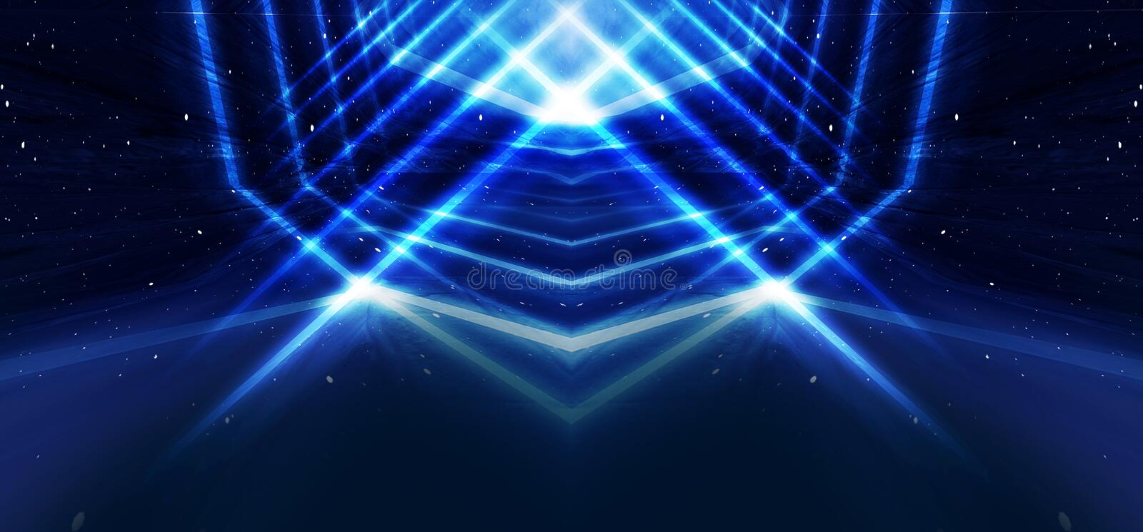 Background wall with neon lines and rays. Background of an empty dark corridor with neon light. Abstract background with lines and stock illustration