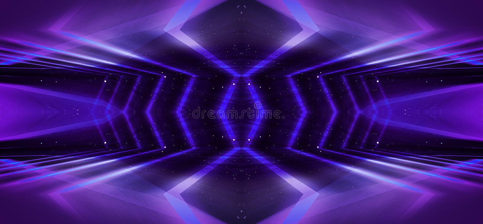 Background wall with neon lines and rays. Background of an empty dark corridor with neon light. Abstract background with lines and. Background wall with neon royalty free stock image
