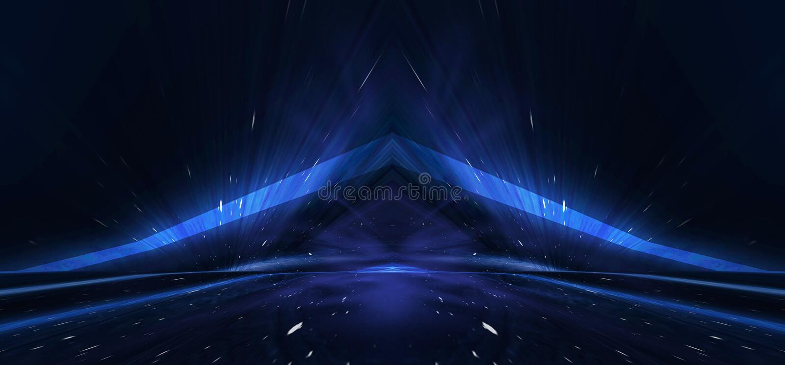 Background wall with neon lines and rays. Background of an empty dark corridor with neon light. Abstract background with lines and vector illustration