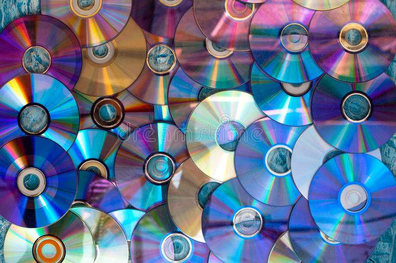 Old damaged discs cd stock photography