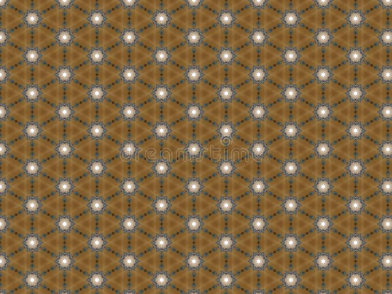 Background wallpaper brown geometric pattern triangle flowers repeating blue and white royalty free stock photo