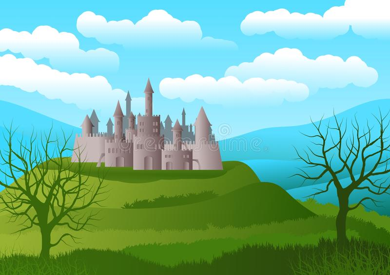 Background or wallpaper with landscape with romantic castle on hill. In the foreground silhouettes of trees without leaves. royalty free illustration