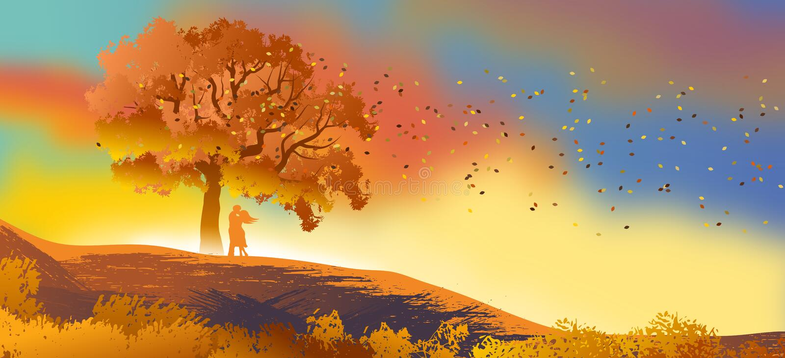 Background or wallpaper with natural landscape with a silhouette of a couple in love with a leafy tree with autumn dot. stock illustration