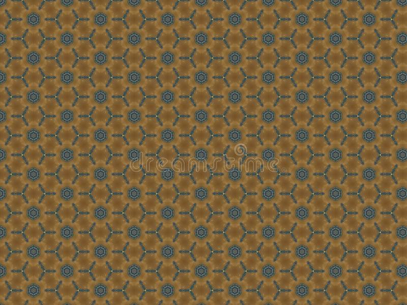Background wallpaper texture flowers repeating blue on a brown wall stock illustration