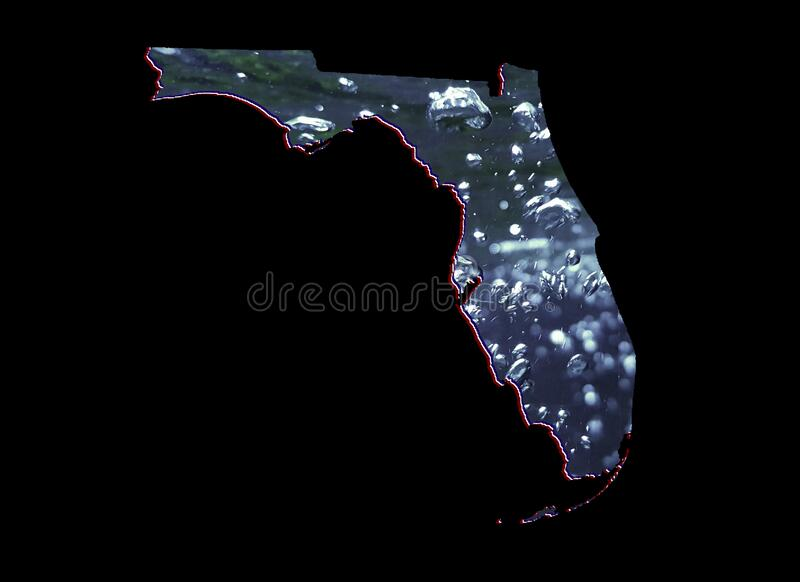 Background for water care issues in Florida state. Map of Florida state with moving water image and black background royalty free stock photo