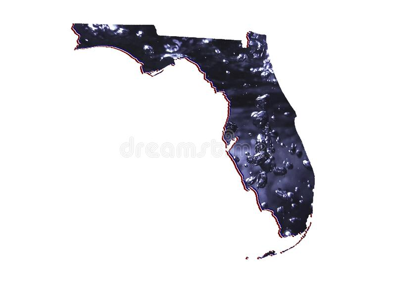 Background for water care issues in Florida state. Map of Florida state with moving water image and white background royalty free stock photography