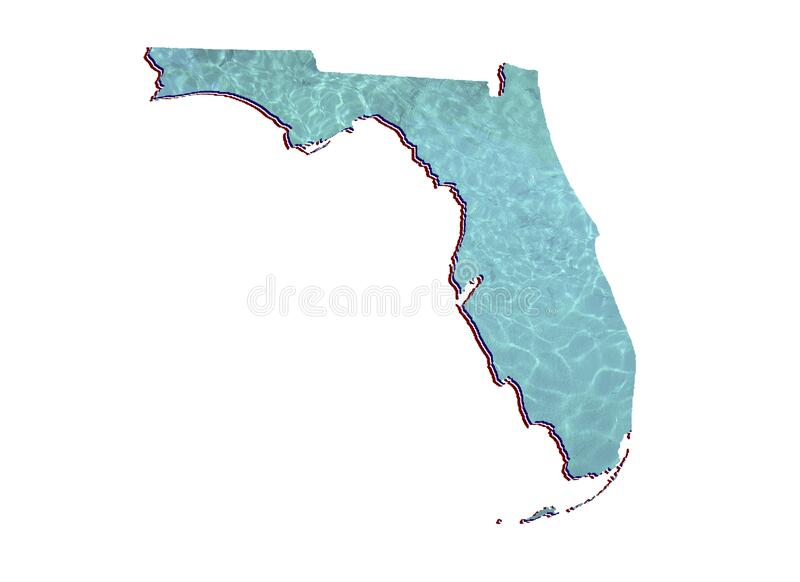Background for water care issues in Florida state. Map of Florida state with water reflection image in aquamarine color and white background royalty free stock images