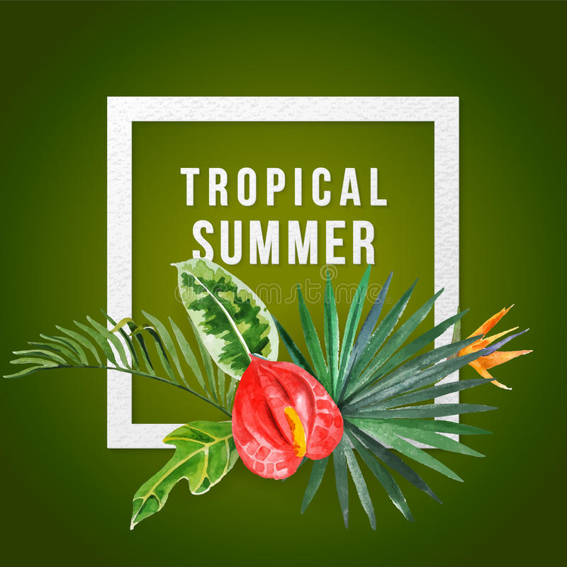 Background with watercolor tropical plants stock illustration