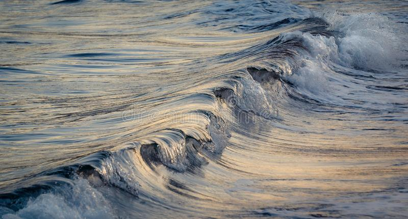 Background Wave breaking diagonally in the light of the sunset. royalty free stock images