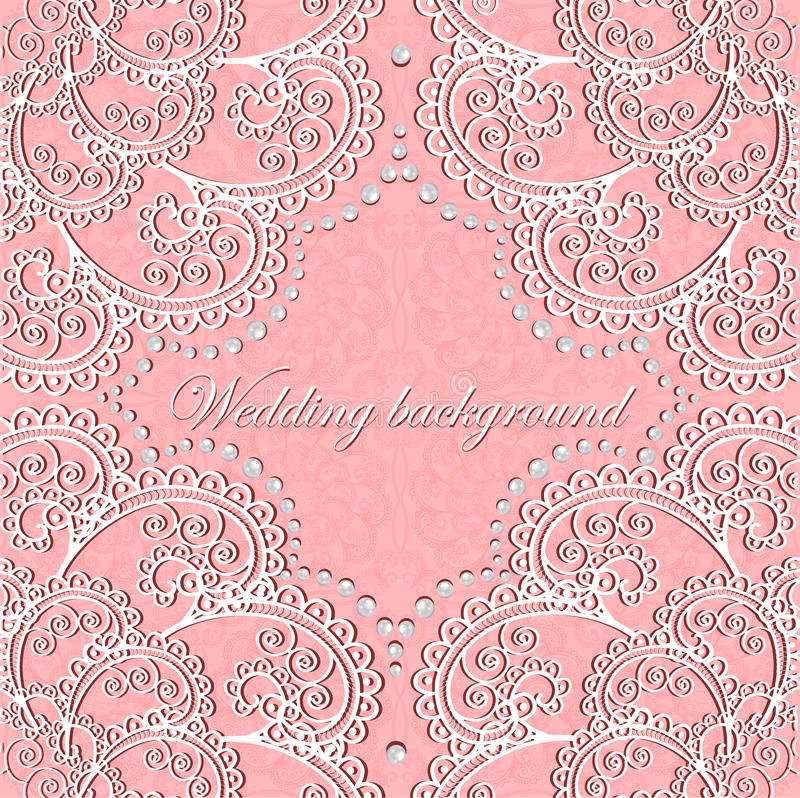 Background wedding with lace and pearls vector illustration