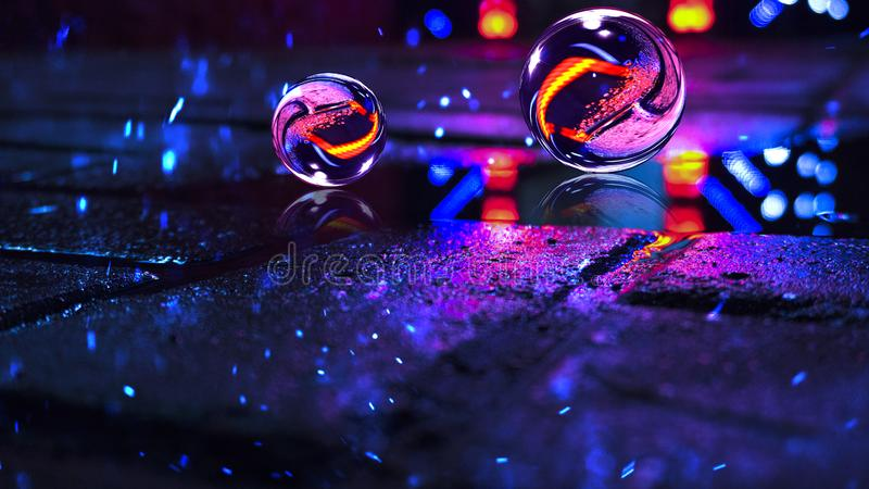 Background of wet asphalt with neon light. Reflection of neon lights in puddles, bright colors, glass ball. Neon night city stock photography